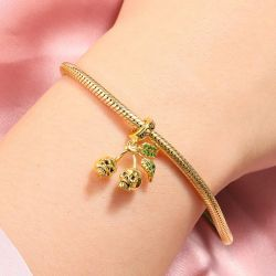 Skull Cherry Charm 18k Gold Plated Sterling Silver Bead fit Bracelet