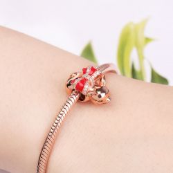 Piggy Charm Bead 18k Rose Gold Plated 925 Sterling Silver