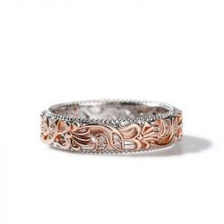 Jeulia Two Tone Floral and Leaf Carved Unique Sterling Silver Women's Band