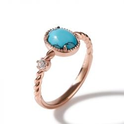 Jeulia Oval Cut Turquoise Delicate Twist Design Sterling Silver Ring