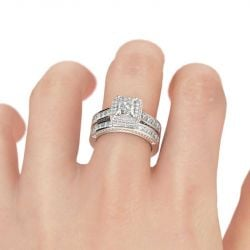 Jeulia  Double Halo Princess Cut Sterling Silver Ring Set