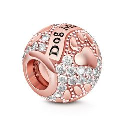 Rose Gold Tone Cute Dog Mom Charm Sterling Silver