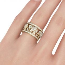 Jeulia Round Cut Sterling Silver Elephant Ring