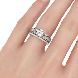 Jeulia  Vintage Cushion Cut Sterling Silver Ring Set