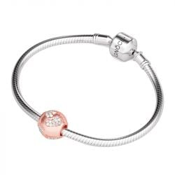 Rose Gold Tone Baby's Footprints Charm Sterling Silver