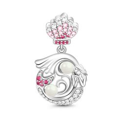Mermaid With Pearl Charm Sterling Silver