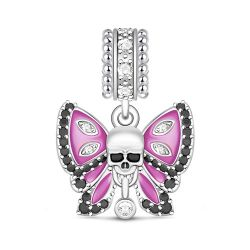 Butterfly Skull Charm Sterling Silver