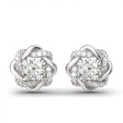 Jeulia Knot of Love Sterling Silver Stud Earrings