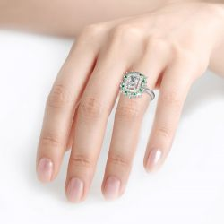 Jeulia Cinderella Halo Radiant Cut Sterling Silver Ring