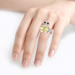 Jeulia Robot Inspired Sterling Silver Ring