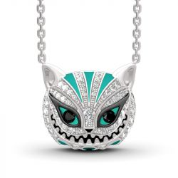 """Jeulia """"Appear and Disappear at Will"""" Cat Sterling Silver Enamel Necklace"""