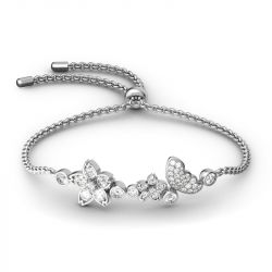 Jeulia Flower and Butterfly Sterling Silver Bolo Bracelet