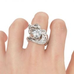 Jeulia  Large Center Stone Round Cut Mermaid Ring