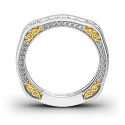 Jeulia Irregular Two Tone Sterling Silver Women's Band