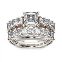 Jeulia Classic Princess Cut Sterling Silver Ring Set