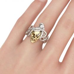 Jeulia Octopus Round Cut Sterling Silver Skull Ring
