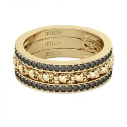 Jeulia 3PC Yellow Gold Tone Skull Ring