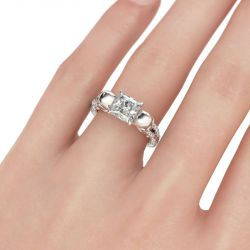 Jeulia Two Tone Crossover Princess Cut Sterling Silver Skull Ring