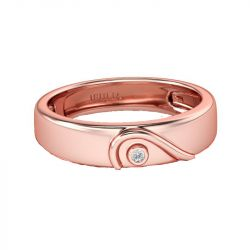 Jeulia Rose Gold Tone Heart Design Sterling Silver Women's Band