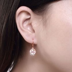 Jeulia Rose Gold Tone Round Cut Stone Sterling Silver Earring Drops