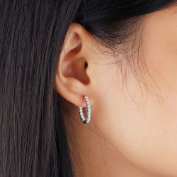 Jeulia Classic Sterling Silver Hoop Earrings
