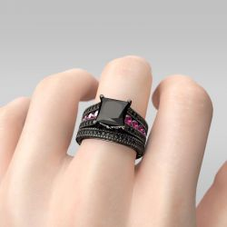 Jeulia Black Princess Cut Sterling Silver Ring Set