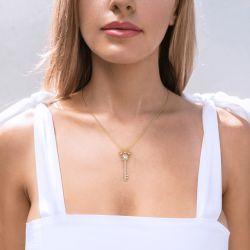 Jeulia Crown And Key Round Cut Sterling Silver Necklace