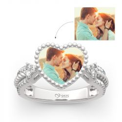 "Jeulia ""You Are Special"" Sterling Silver Personalized Photo Ring"