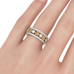 Jeulia Two Tone Flower Round Cut Sterling Silver Women's Band