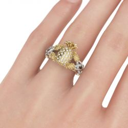 Jeulia Two Tone Pineapple Intertwined Sterling Silver Ring