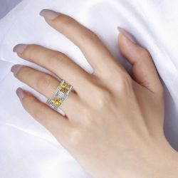 Jeulia Two Bee Emerald Cut Sterling Silver Ring