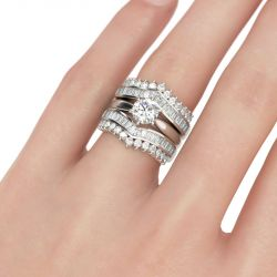 Jeulia Art Deco Round Cut Sterling Silver 3PC Ring Set