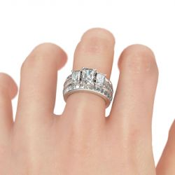 Jeulia 3PC Three Stone Radiant Cut Sterling Silver Ring Set