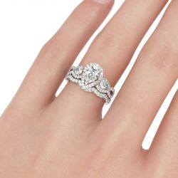 Jeulia Three Stone Twist Pear Cut Sterling Silver Ring Set