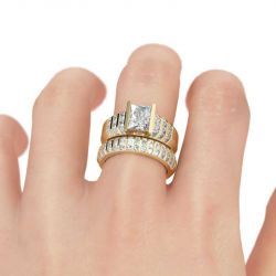 Jeulia Thick Radiant Cut Sterling Silver Ring Set