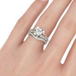 Jeulia Tulip Design Round Cut Sterling Silver Ring Set