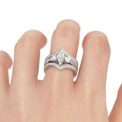 Jeulia Three Stone Marquise Cut Sterling Silver Ring Set