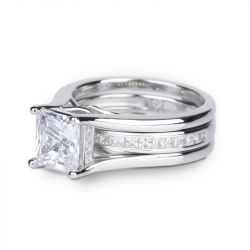 Jeulia Interchangeable Princess Cut Sterling Silver Ring Set