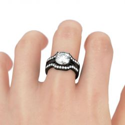 Jeulia Black Tone 3PC Cushion Cut Sterling Silver Ring Set