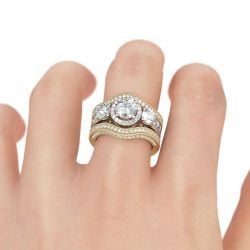 Jeulia Halo Round Cut Sterling Silver Enhancer Ring Set