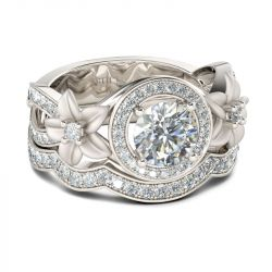 Jeulia Halo Flower Round Cut Sterling Silver Ring Set