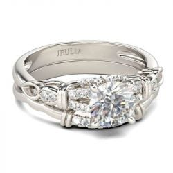 Jeulia Vintage Knot Round Cut Sterling Silver Ring Set