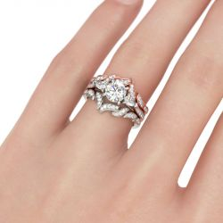 Jeulia Three Stone Leaf Design Round Cut Sterling Silver Ring Set
