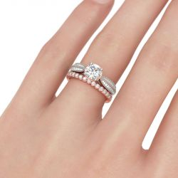 Jeulia Two Tone Milgrain Round Cut Sterling Silver Ring Set