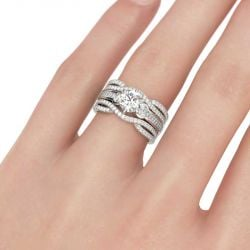 Jeulia Classic Three Stone Round Cut Sterling Silver Ring Set