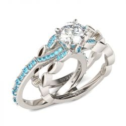Jeulia Milgrain Round Cut Interchangeable Sterling Silver Ring Set