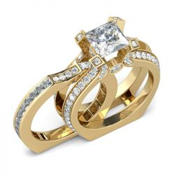 Jeulia Interchangeable Gold Tone Princess Cut Sterling Silver Ring Set