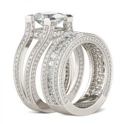 Jeulia Milgrain Princess Cut Sterling Silver Ring Set