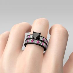 Jeulia Black Tone Heart Cut Sterling Silver Ring Set