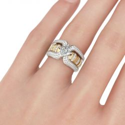 Jeulia Interchangeable Two Tone Princess Cut Sterling Silver Ring Set
